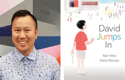 Author Alan Woo and the cover of his book David Jumps In, illustrated by Katty Maurey.