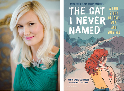 Author Amra Sabic-El-Rayess and the cover of her memoir The Cat I Never Named