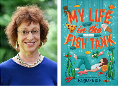 Author Barbara Dee and the cover of her novel My Life in the Fish Tank.
