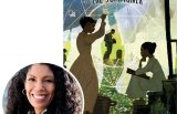 Victoria Bond and the cover of her book Zora and Me: The Summoner