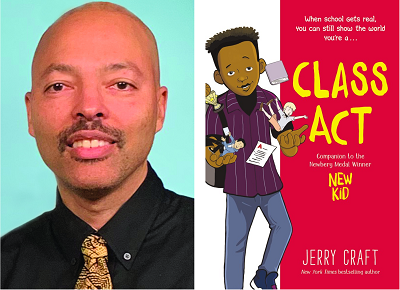 Jerry Craft and the cover of his new graphic novel Class Act.