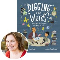 Angela Burke Kunkel and the cover of her book Digging for Words