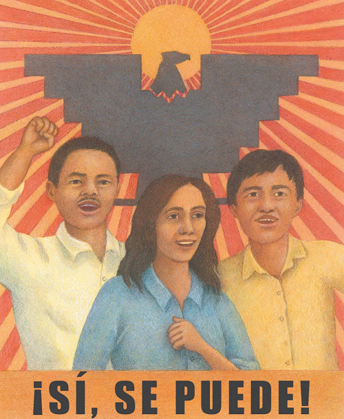 An interior portrait showing Larry Itliong, Dolores Huerta, and César Chávez, from Resist! Peaceful Acts That Changed the World, by Diane Stanley.