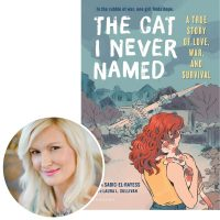 author Amra Sabic-El-Rayess and the cover of her book Tha Cat I Never Named