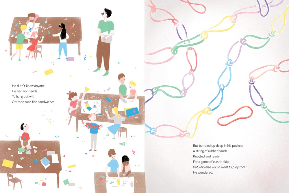 An interior image from David Jumps In, written by Alan Woo and illustrated by Katty Maurey, showing a busy elementary-school classroom, and then the knotted rubber bands that the book's main character, David, hopes to share with his classmates in a favorite game, elastic skip.