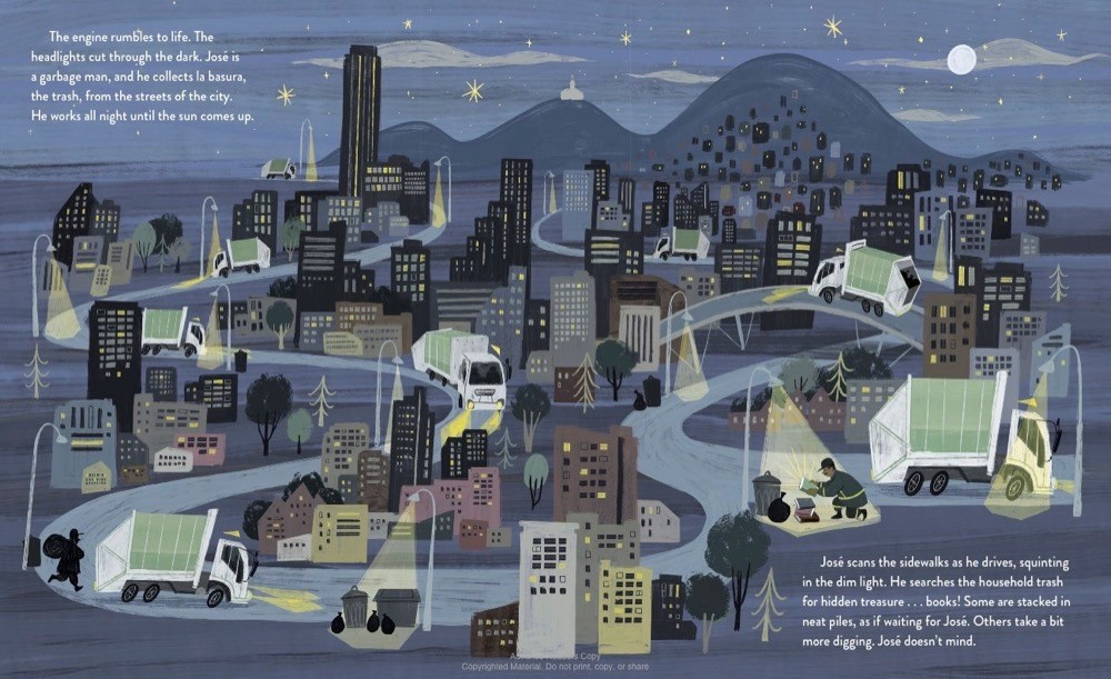 An interior image from Digging for Words: José Alberto Gutiérrez and the Library He Built, written by Angela Burke Kunkel and illustrated by Paola Escobar, showing the book's subject driving his garbage truck through Bogota searching for books.