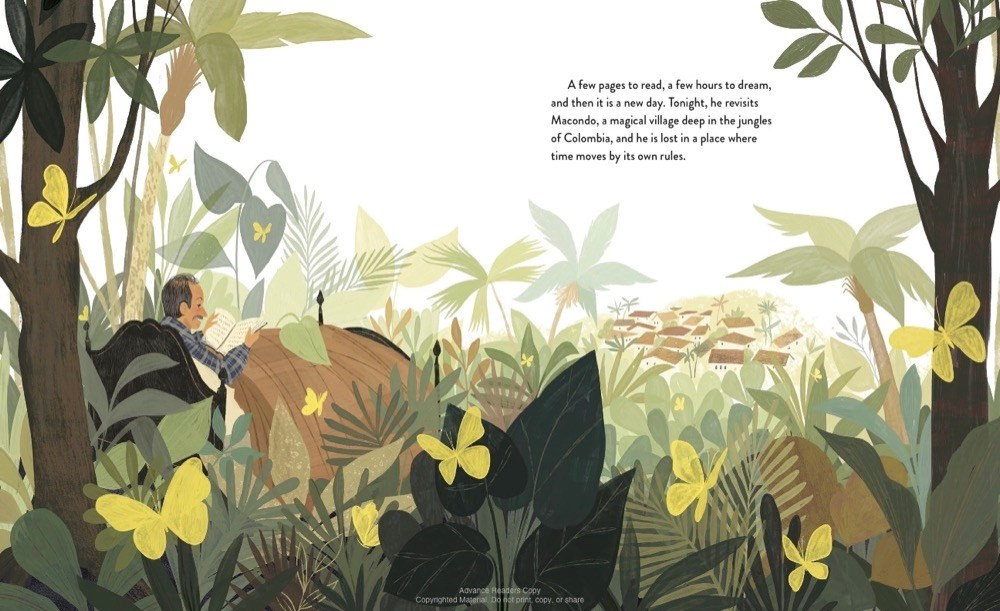 An interior image from Digging for Words: José Alberto Gutiérrez and the Library He Built, written by Angela Burke Kunkel and illustrated by Paola Escobar, showing the book's subject surrounded by a lush, imagined landscape that reflects what he's reading in a book.