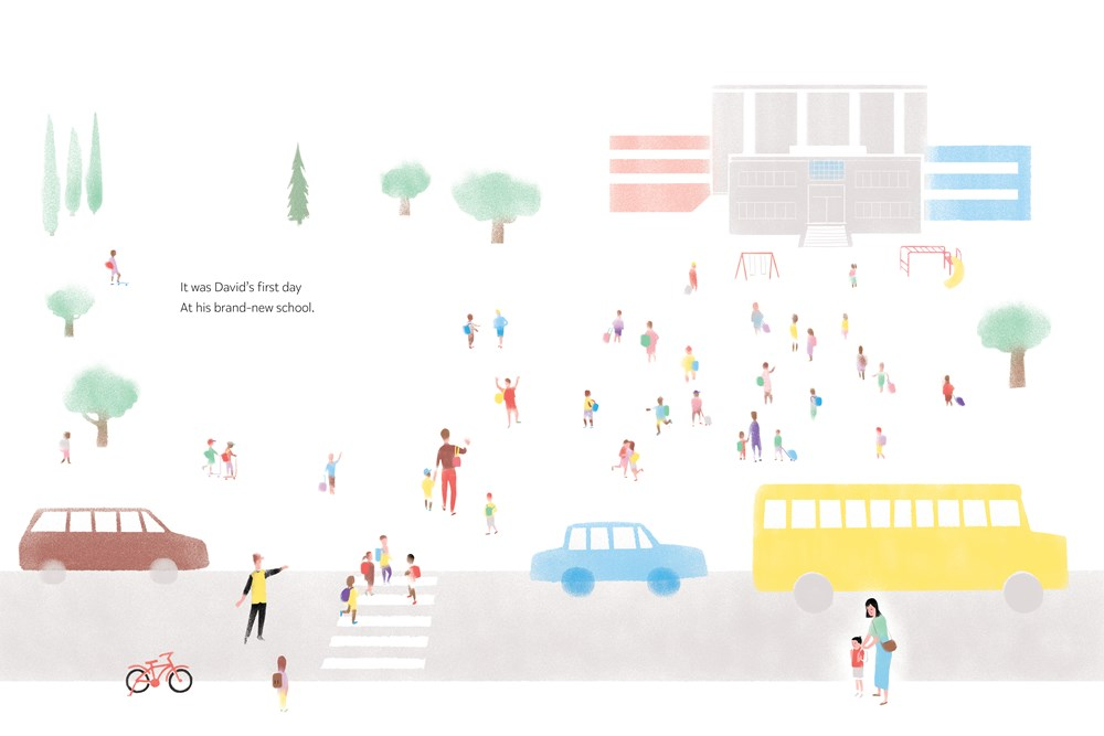 An interior image from David Jumps In, written by Alan Woo and illustrated by Katty Maurey, showing cars and buses dropping children off at elementary school.
