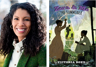 Author Victoria Bond and the cover of her novel, Zora and Me: The Summoner.