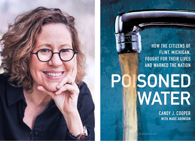 Author Candy J. Cooper and the cover of her book Poisoned Water