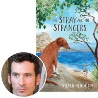 Steven Heighton and the cover of his book The Stray and the Strangers