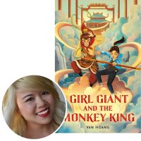Van Hoang and the cover of her book Girl Giant and the Monkey King