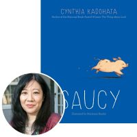 Cynthia Kadohata and the cover of her novel Saucy
