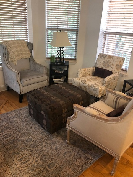 Comfortable reading chairs in author Katheryn Russell-Brown's home.