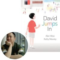 Author Alan Woo and the cover of his book David Jumps In