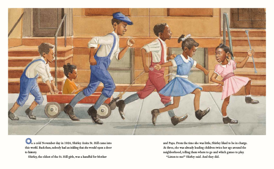 An interior image from She Was the First! The Trailblazing Life of Shirley Chisholm, written by Katheryn Russell-Brown and illustrated by Eric Velasquez. In the scene, a young Shirley Chisholm runs down her Brooklyn street with friends.