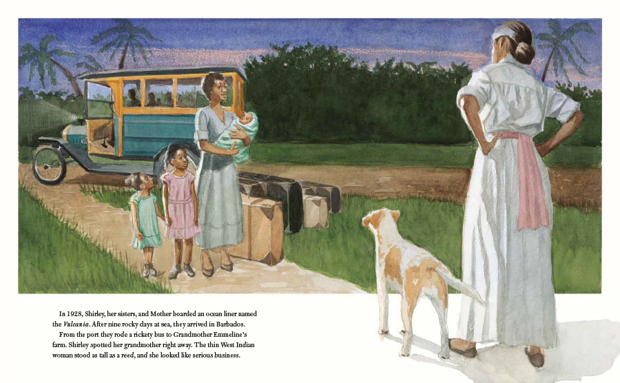 An interior image from She Was the First! The Trailblazing Life of Shirley Chisholm, written by Katheryn Russell-Brown and illustrated by Eric Velasquez. In the scene, a young Shirley Chisholm arrives at her grandmother's house in Barbados.