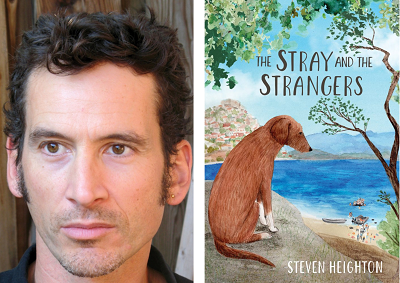 Author Steven Heighton and the cover of his book The Stray and the Strangers.