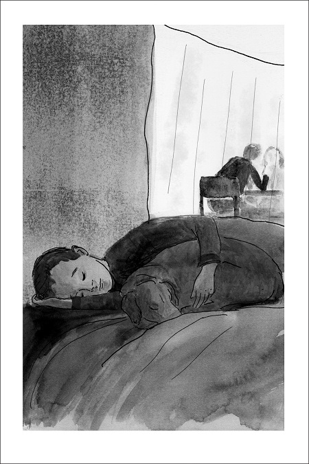 An interior image from The Stray and the Strangers, written by Steven Heighton and illustrated by Melissa Iwai. A boy lies on a cot with a dog, who snuggles against him.