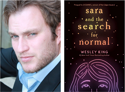 Author Wesley King and the cover of his novel Sara and the Search for Normal.