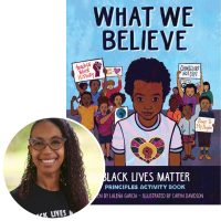 Lalena Garcia and the cover of her book What We Believe