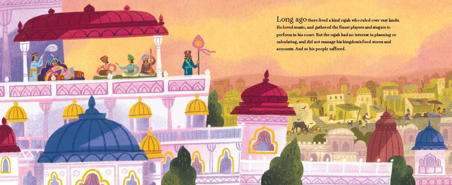 An interior spread from Seven Golden Rings showing the exterior of the Rajah's palace.