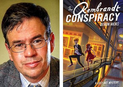 Author Deron Hicks and the cover of his novel The Rembrandt Conspiracy