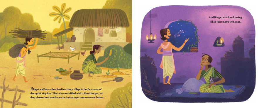 An interior spread from Seven Golden Rings showing the main character, Bhagat, first working hard to carry wood during the day and then singing at home at night.