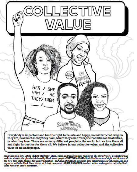 And interior spread from What We Believe: A Black Lives Matter Principles Activity Book, which shows four activists in the Black Lives Matter movement, along with explanations of Collective Value, defined in text above.