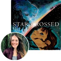 Julia Denos and the cover of Starcrossed.