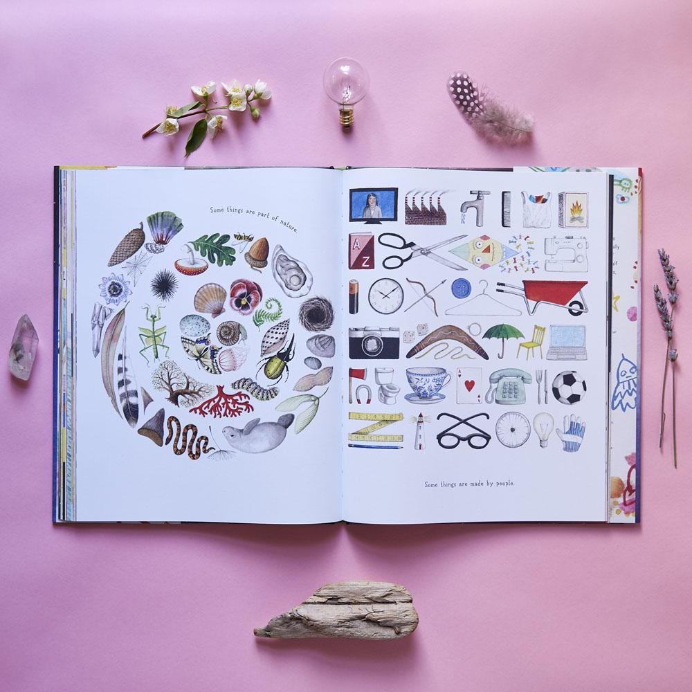 A spread from If You Come to Earth, written and illustrated by Sophie Blackall, showing a swirl of things from the natural world on the left side (shells, pinecones, etc.) and a swirl of human-created objects on the right (scisoors, wheelbarrows, eyeglasses, etc.).