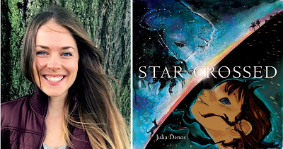 Author and illustrator Julia Denos with the cover of her book Starcrossed.