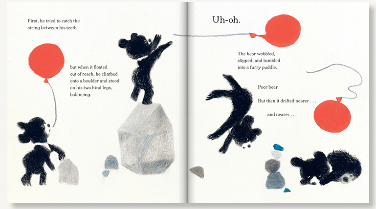 An interior spread from The Bear and the Moon, written by Matthew Burgess and illustrated by Catia Chien, showing a bear cub trying to catch a red balloon.