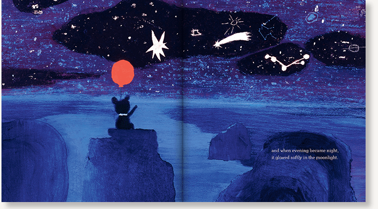 An interior spread from The Bear and the Moon, written by Matthew Burgess and illustrated by Catia Chien, showing a bear cub holding the red balloon under a starry night sky.