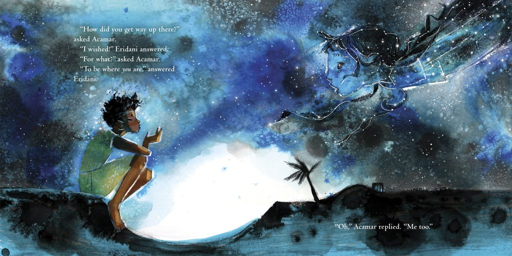 An interior spread from Starcrossed, written and illustrated by Julia Denos, showing a boy sitting in a dark landscape facing a star-filled girl figure in the sky.