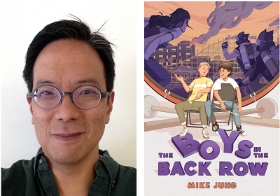 Author Mike Jung and the cover of his novel The Boys in the Back Row.