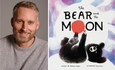 Author Matthew Burgess and the cover of The Bear and the Moon.