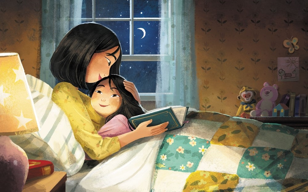 An interior image of Eyes that Kiss in the Corners, written by Joanna Ho and illustrated by Dung Ho, showing a mother and daughter snuggling with a bedtime book.