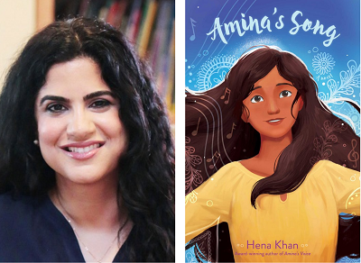Author Hena Khan and the cover of her novel Amina's Song.