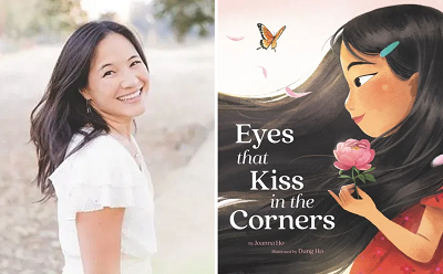 Author Joanna Ho and the cover of Eyes That Kiss in the Corners