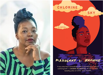 Mahogany L. Browne and the cover of Chlorine Sky.