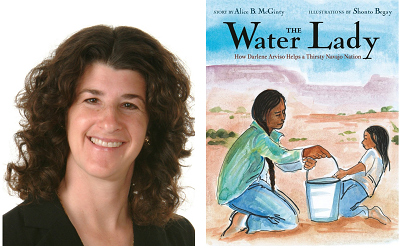 Author Alice McGinty and the cover of her book The Water Lady.