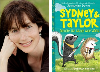 Author Jacqueline Davies and the cover of her book Sydney and Taylor Explore the Whole Wide World.