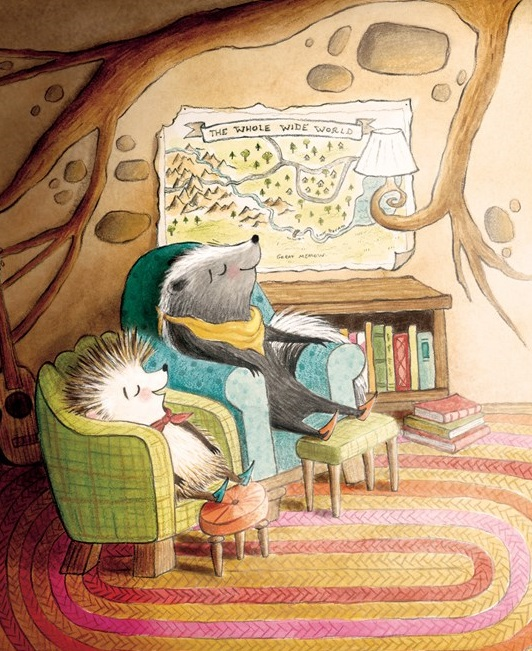 An interior image from Sydney and Taylor Explore the Whole Wide World, written by Jacqueline Davies and illustrated by Deborah Hocking, showing a skunk and a hedgehog relaxing in a cozy living room burrow.