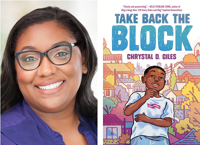 Chyrstal D. Giles and the cover of her debut novel Take Back the Block.