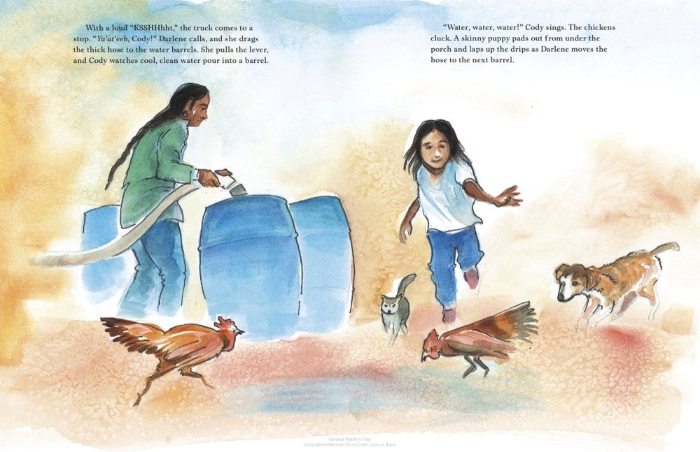 An interior image from The Water Lady, by Alice McGinty and Shanto Begay, showing a Navajo boy standing helping to fill water tanks at his home.