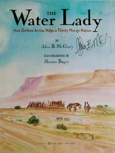 title page of The Water Lady, signed by the author, Alice B. McGinty.