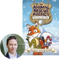 Eliot Schrefer and the cover of Little Claws, the first book in The Animal Rescue Agency series