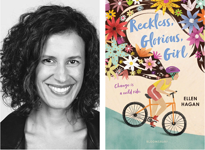Ellen Hagan and the cover of Reckless, Glorious, Girl