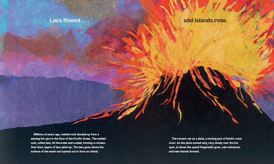 An interior spread from Butterfly for a King, cowritten by Susan L. Roth and Cindy Trombore and illustrated by Susan L. Roth. The image shows an exploding volcano made of paper collage.